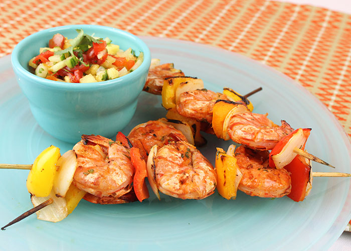 Grilled Red Curry Shrimp with Spicy Pineapple Tomato Salsa