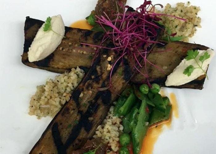 Grilled Charmoula Marinated Eggplant with Bulger, Golden Raisin Jam & Almon...