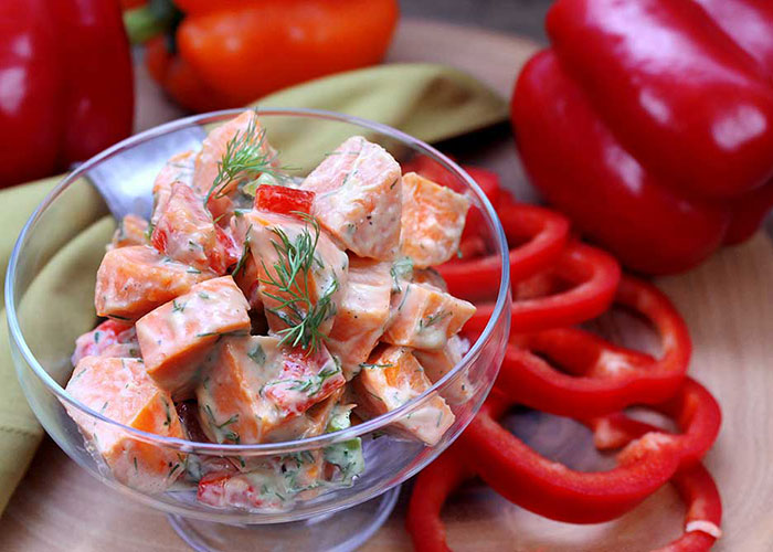 Sweet Potato Red Pepper Salad with Avocado