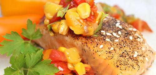 Grilled Salmon with Tomato Mango Chutney