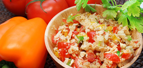 Cauliflower Rice with Peppers & Tomatoes