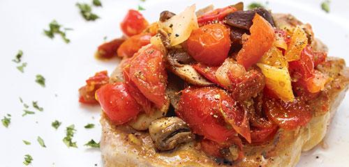 Spicy Tomato & Mushroom Pork Chops