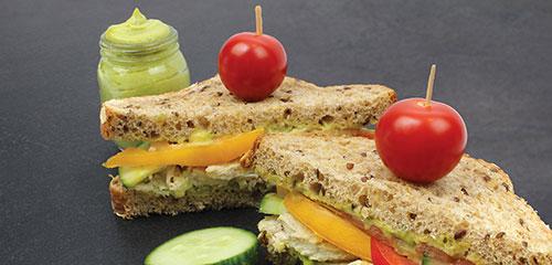 Chicken Cucumber Tomato Sandwiches with Avocado Mayo