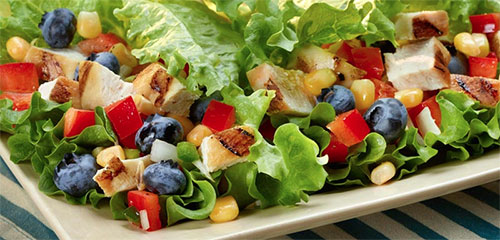 Grilled Chicken Lettuce Wraps with Blueberry Bell Pepper Relish