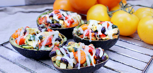 Stuffed Black Bean Tomato Avocados